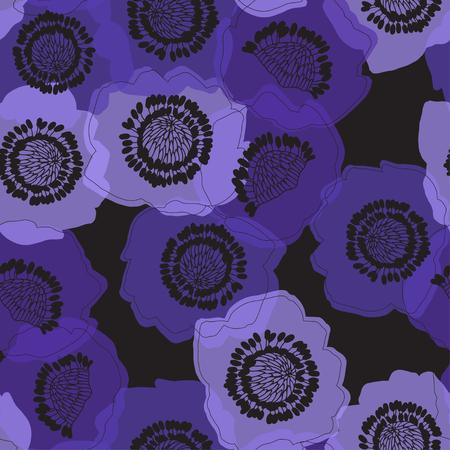 Anemones. Seamless nature background. Vector.  イラスト・ベクター素材