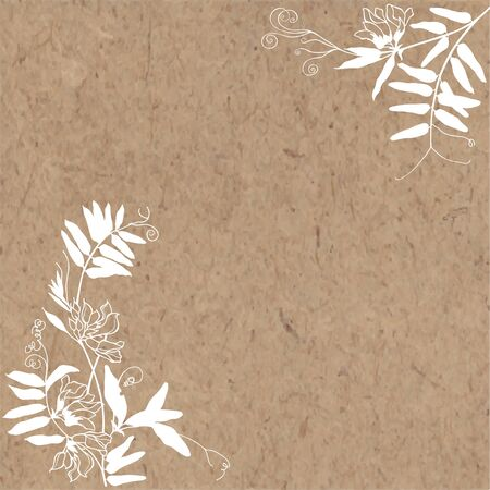 Vector illustration with grass mouse peas , design element on kraft paper. Invitation, greeting card.
