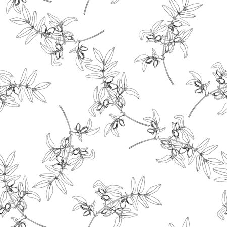 Seamless pattern with  honeysuckle berries on white background. Vector illustration. Vettoriali