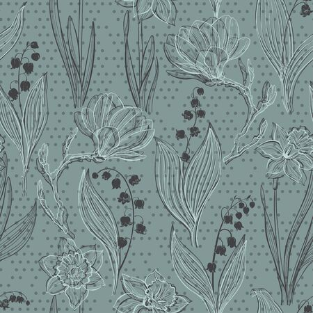 Floral background with spring flowers. Vector illustration.