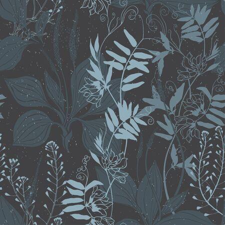 Flores silvestres. Fondo de naturaleza. Dibujo de contorno y silueta sobre fondo oscuro. Ilustración de vector