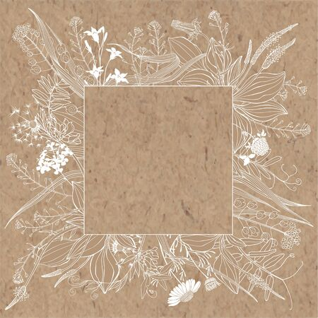 Vector illustration with wildflowers and herbs, design element on kraft paper. Invitation, greeting card.  向量圖像