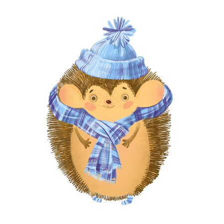 Cute cartoon hedgehog in a hat and scarf. Design element on white. Invitation, greeting card. Hand drawn.