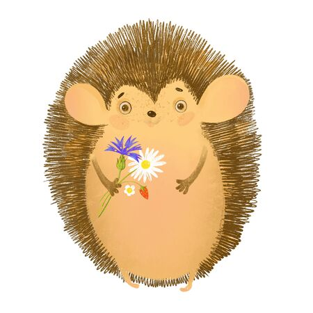 Cute cartoon hedgehog with a bouquet. Design element on white. Invitation, greeting card. Hand drawn.