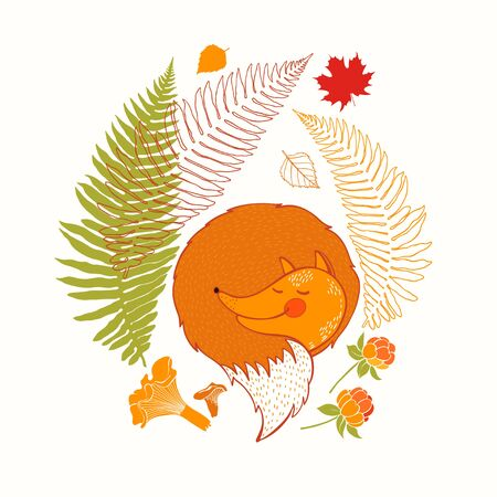 Autumn composition with sleeping fox and plants. Vector cartoon illustration on white.