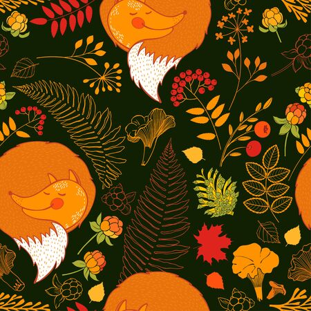 Autumn background with foxes. Vector.