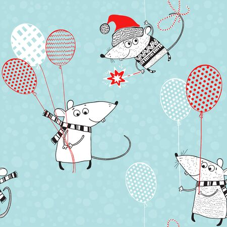 Cute rats with balloons. New Year's seamless background. Animal symbol of new year 2020. Illustration