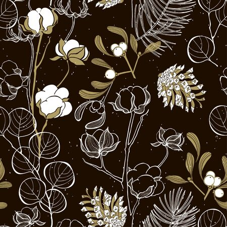 Floral background.Cotton and eucalyptus branches, mistletoe, eucalyptus and pine cones. Nature seamless pattern. Vector.