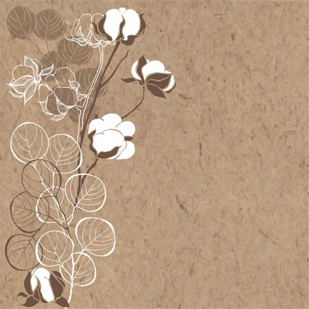 Greeting card with Christmas bouquet on kraft paper. Vector illustration.