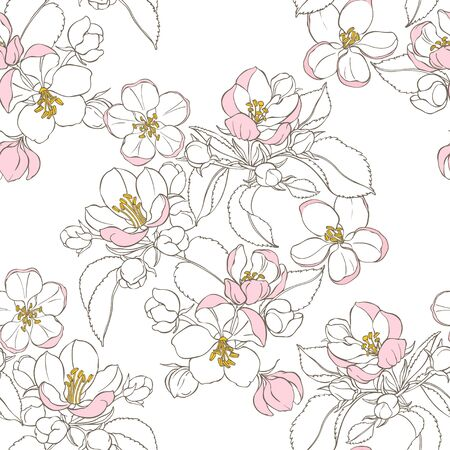 Flowering branches of apple trees. Vector. Nature background. Vecteurs