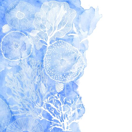 Vector illustration on a marine theme with a blue watercolor element. Abstract sea background with seaweed, shells, corals and place for text. Ilustracja