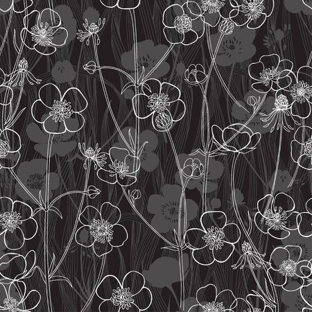 Buttercups and blades of grass on black. Flowering wildflowers. Vector  illustration. Nature background.
