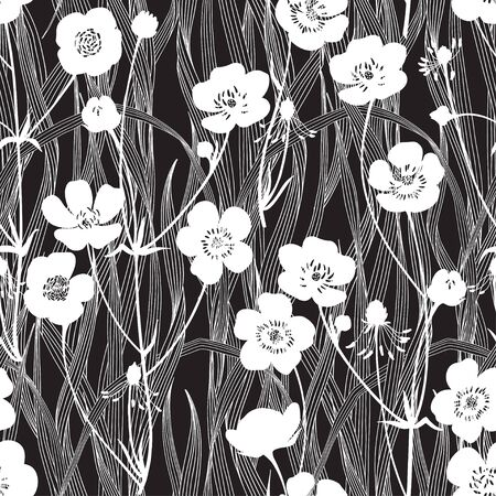 Buttercups and blades of grass on black. Flowering wildflowers. Vector  illustration. Nature background.  Black and white. Stock Illustratie