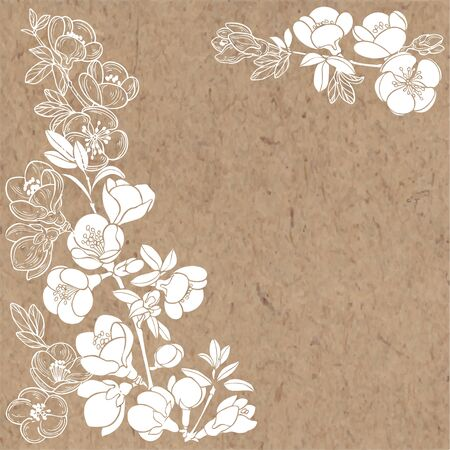 Flowering branches of quince trees on kraft paper. Vector. Nature background.