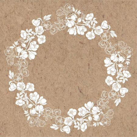 Flowering branches of quince trees. Vector. Nature background. Floral vector wreath with place for text on kraft paper.