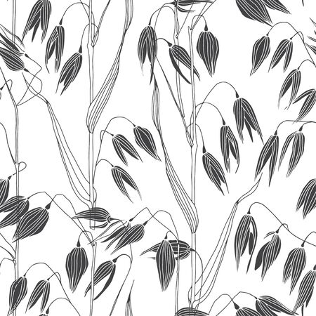 Endless background with oats. Nature background. Vector.