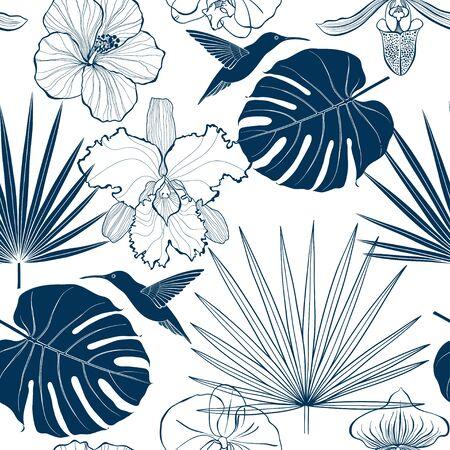 Seamless pattern with cartoon summer elements . Vector background. Silhouettes. Ilustración de vector