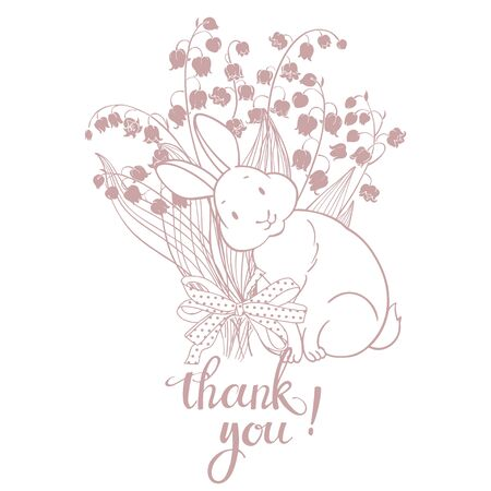 Thank you! Vector illustration with cute bunny,  lilies of the valley and handmade calligraphy on white background.