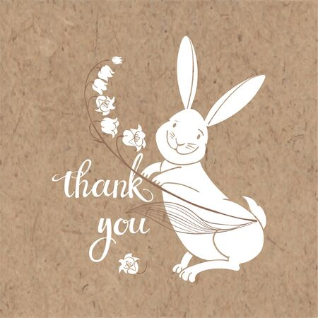 Thank you! Vector illustration with cute bunny, lily of the valley and handmade calligraphy on kraft paper.