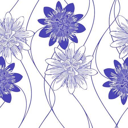 Passionflower. Floral background. Vector illustration.  Monochrome. Illustration