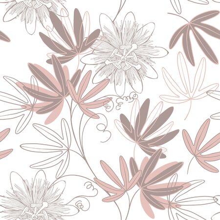 Passionflower. Floral background. Vector illustration. Monochrome.