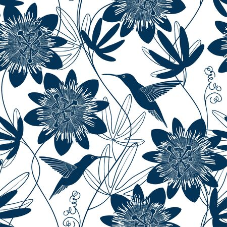 Passionflower and hummingbirds. Floral background. Vector illustration.  Monochrome.