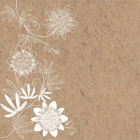 Flowering branches of passionflowers on kraft paper. Vector. Nature background. Vertical composition.