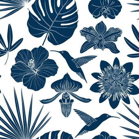 Seamless pattern with exotic tropical plants and hummingbirds. Vector background. Silhouettes.