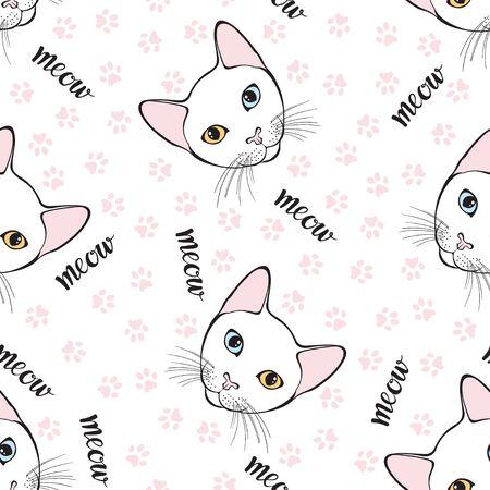 Cao mani, chat aux yeux de couleurs différentes. Aplatit le visage et trace les pieds de chat. Fond d'art animalier. Vecteur. Vecteurs