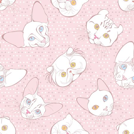 Ð¡ats face of different breeds on a pink polka dot background. Animal art background. Vector. Vecteurs