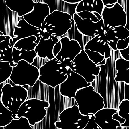 Flowering jasmine branches. Vector. Nature background. Black and white.
