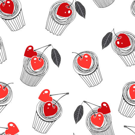 Food background with yummy cartoon muffins and heart-shaped berries. Vector illustration on white.  イラスト・ベクター素材