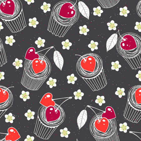Food background with yummy cartoon muffins, flowers and heart-shaped berries. Vector illustration on black.