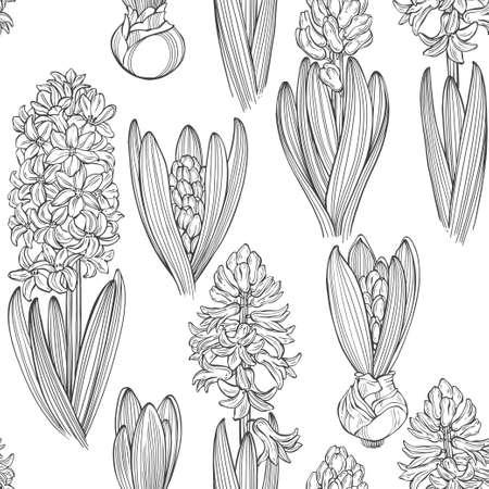 Hyacinths. Floral endless background. Hand-drawn spring vector illustration.