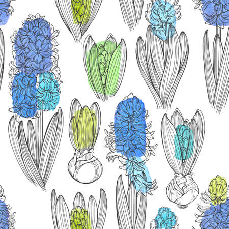 Hyacinths. Floral endless background. Hand-drawn spring vector illustration. Perfect for design templates, wallpaper, wrapping, fabric and textile.