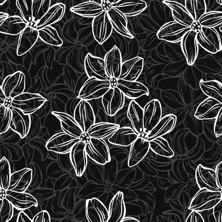 Flowers. Floral endless background. Hand-drawn spring vector illustration. Monochrome.Outline.
