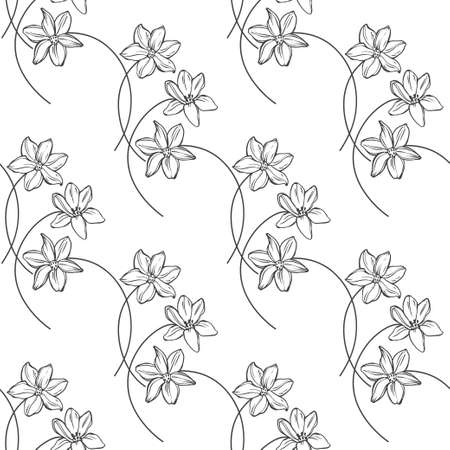 Flowers. Floral endless background. Hand-drawn spring vector illustration. Black and white.Outline. 일러스트