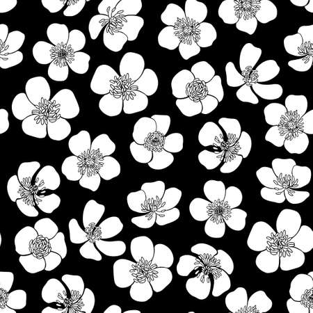 Contours and silhouettes of flowers on black. Floral endless background. Hand-drawn spring vector illustration.