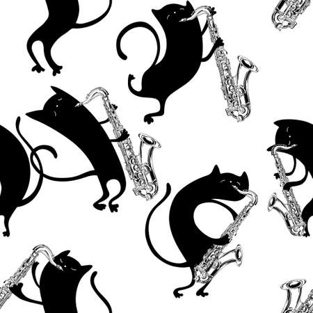 Seamless pattern with cute cats playing the saxophone. Vector. Cartoon black and white background.
