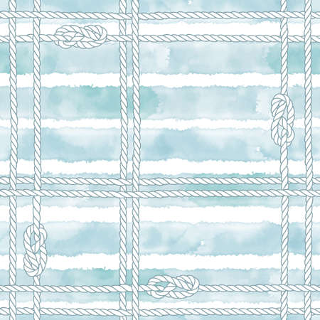 Endless background with marine rope, knots and blue watercolor stripes. Abstract marine background.