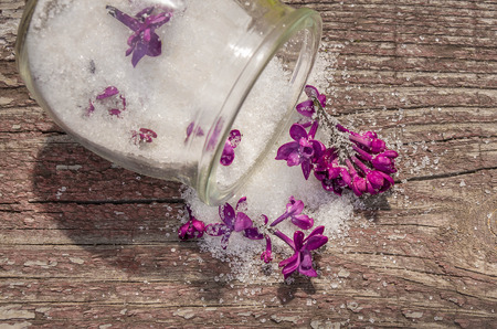 candied: Candied lilac flowers in a glass jar
