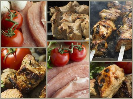 shashlik: Food collage of meat. barbecue grill shashlik Stock Photo