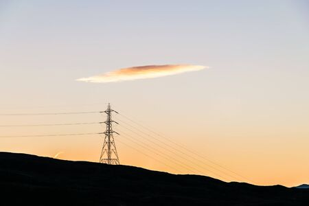 Electricity pylon in Scottish Highlands, Loch Lomond and Trossachs National Park, Scotland