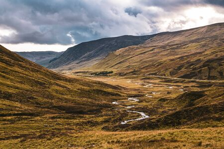 Scenic Glen Shee, Perthshire, Scotland, on an autumn day. Stockfoto