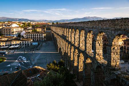 The Aqueduct of Segovia, a famous landmark in the city of Segovia, Spain.