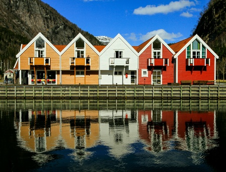 case colorate: Colorful houses in Norway