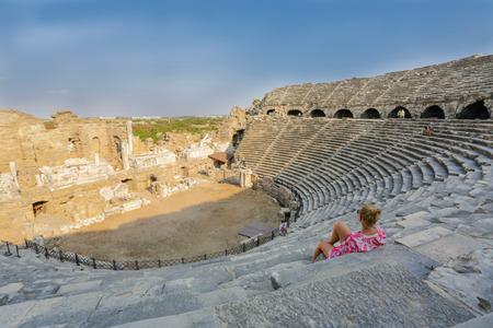 Amphitheater ruins. Side, Tukrey Stock Photo