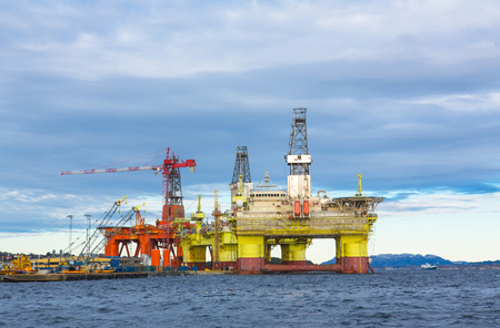 subsea: Oil platform under maintenance near Bergen, Norway.