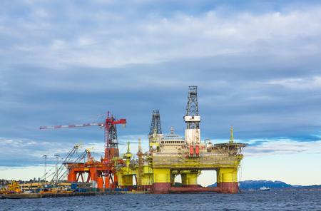 subsea: Oil platform under maintenance near Bergen, Norway.