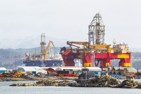subsea: Oil platforms under maintenance near Bergen, Norway